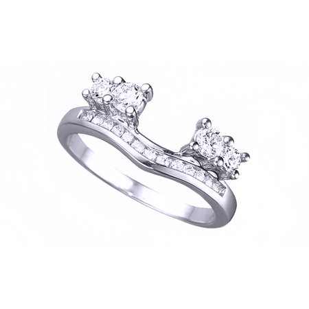 White Cubic Zirconia Solitaire Anniversary Wrap Enhancer Ring In 14k White Gold Over Sterling Silver - Wrap Rings