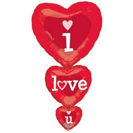 "Anagram International I Love You Stacker Flat Balloon, 36"", Multicolor"