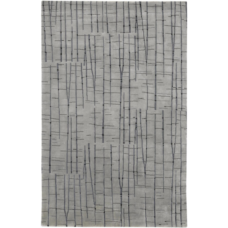 4' x 6' Abstract Oasis of Gray Wool Area Throw Rug