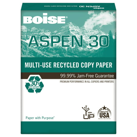 Boise ASPEN 30% Recycled Multi-Use Paper, 92 Bright, 20lb, 11 x 17, White, 2500/CT (Color Laser Printer 11 X 17 Paper)
