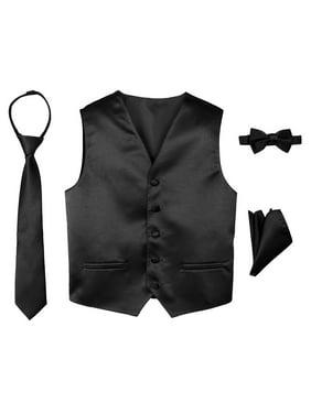 Spring Notion Boys' 4-Piece Satin Tuxedo Vest Set 2T Black