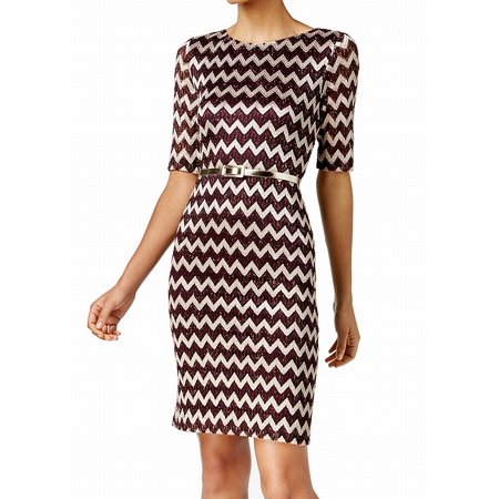 Connected Apparel NEW Red Chevron Lace Belted 10 Sheath Knit Dress