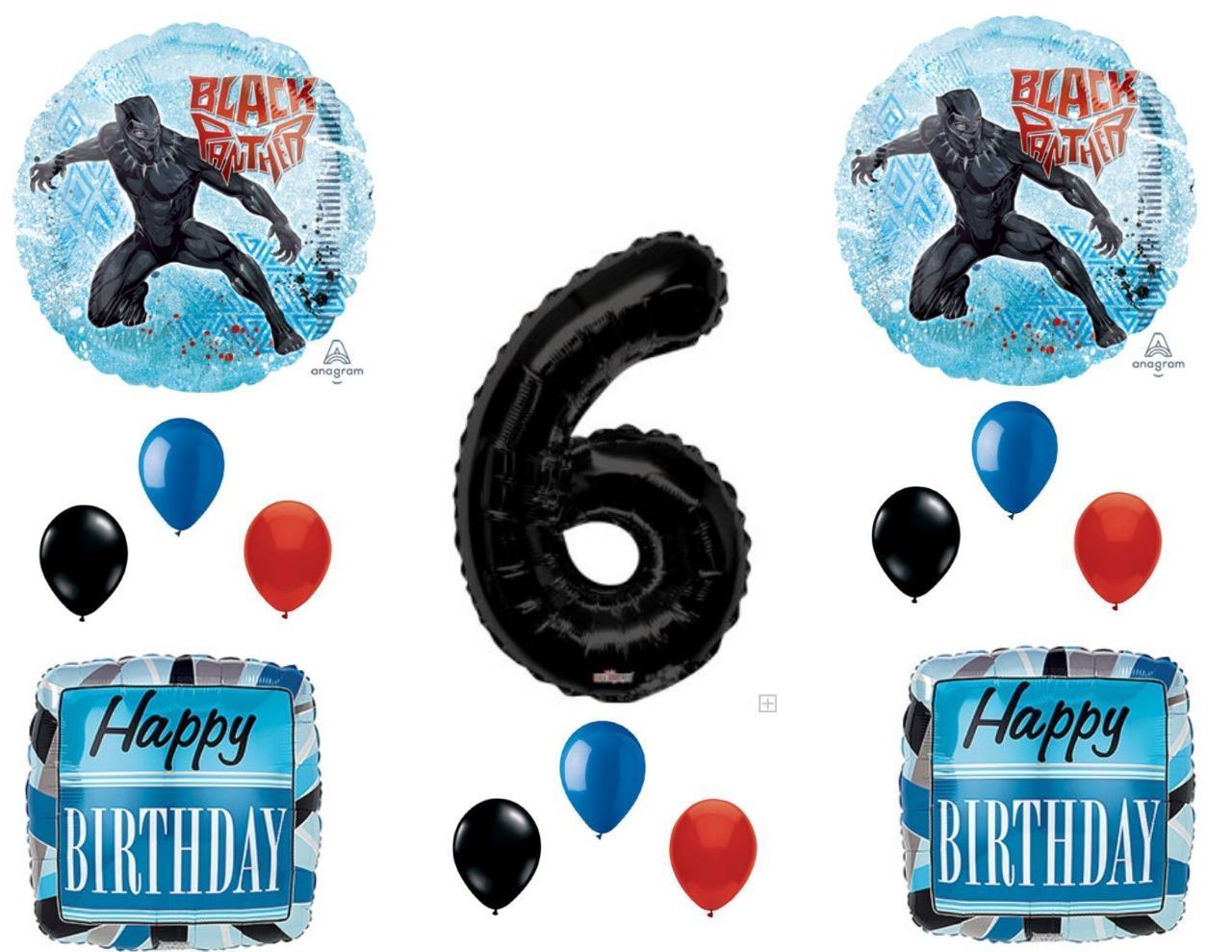 6th B... Black Panther Party Supplies Birthday Balloon Decorations Decor Bundle