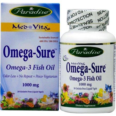 Paradise Herbs Med-Vita Omega-Sure oméga-3 d'huile de poisson 1000 mg - 30 Gélatine liquide libre Vgels