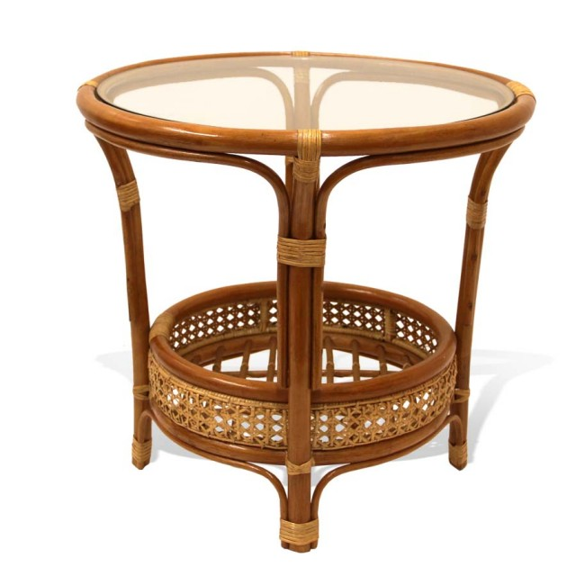 Pelangi Coffee Round Table Natural Rattan Wicker with Glass Top Handmade, Colonial