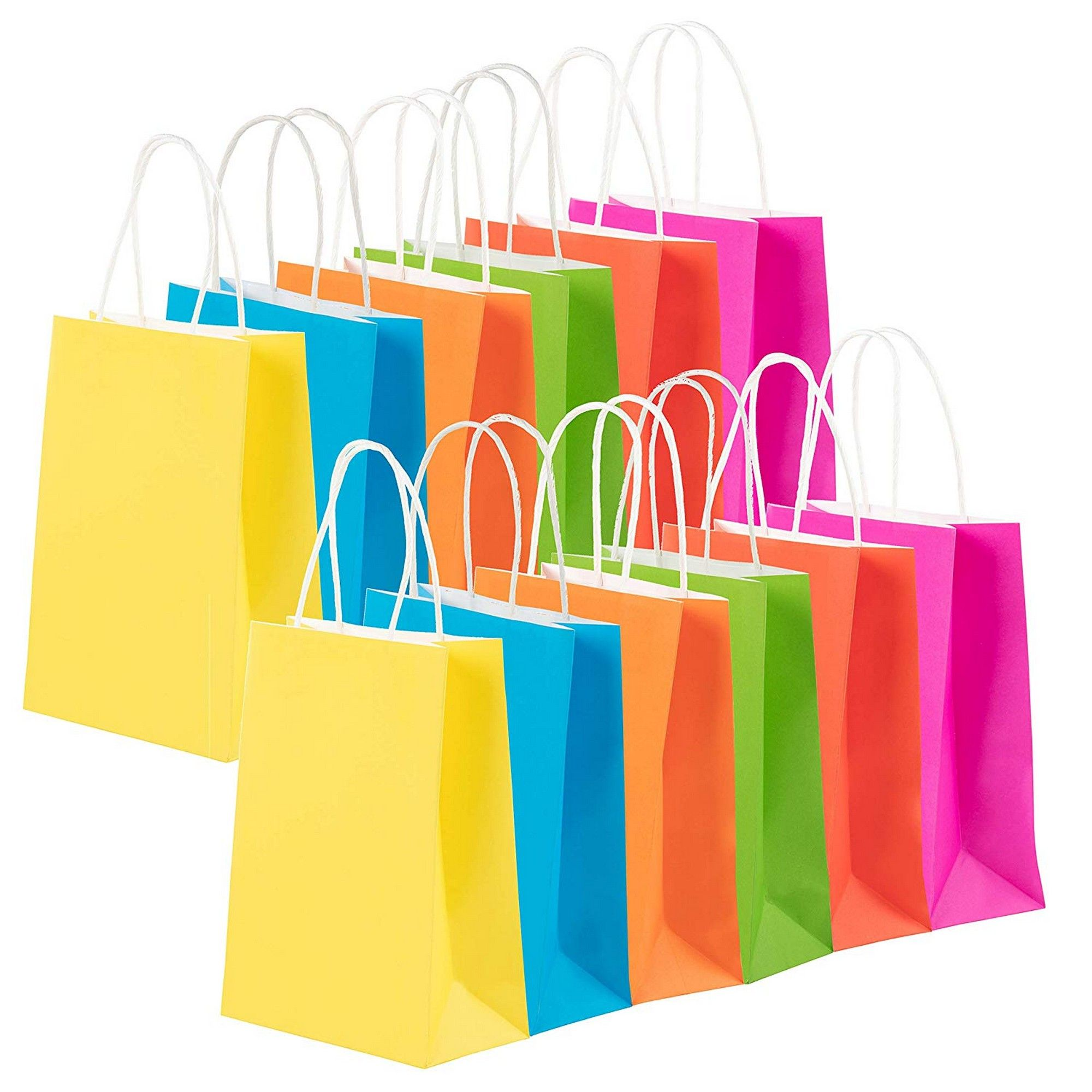 24 Pack Gift Bags Neon Colored Bulk Gift Bags With