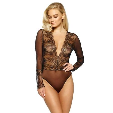 28fed4ea92 Dossa Eyelash Lace Bodysuit (Black
