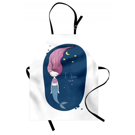 Moon Apron (Mermaid Apron I Love Sea Theme Fantastic Cartoon Girl with Long Pink Hair Stars and Moon, Unisex Kitchen Bib Apron with Adjustable Neck for Cooking Baking Gardening, Blue Pink Yellow, by Ambesonne )