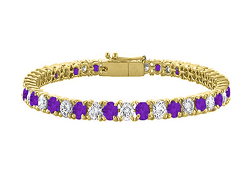 Amethyst and Cubic Zirconia Tennis Bracelet with 10CT TGW on 18K Yellow Gold Vermeil. 7 Inch by Love Bright