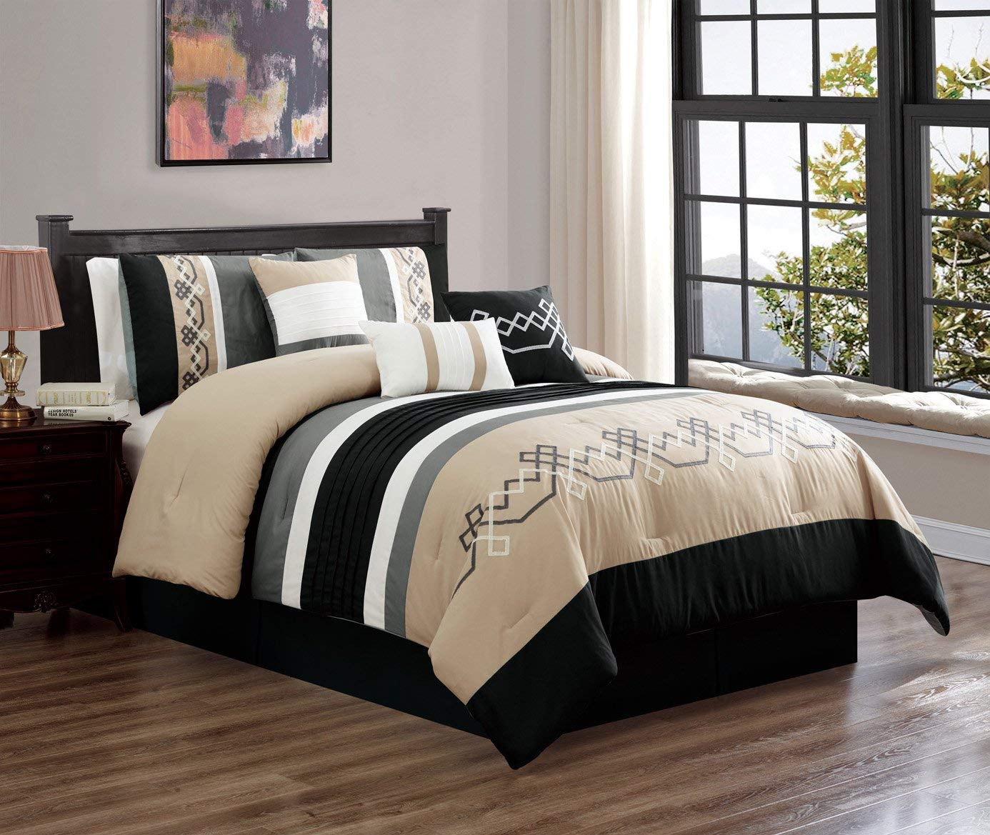 7 piece oversized bedding comforter sets luxury embroidery