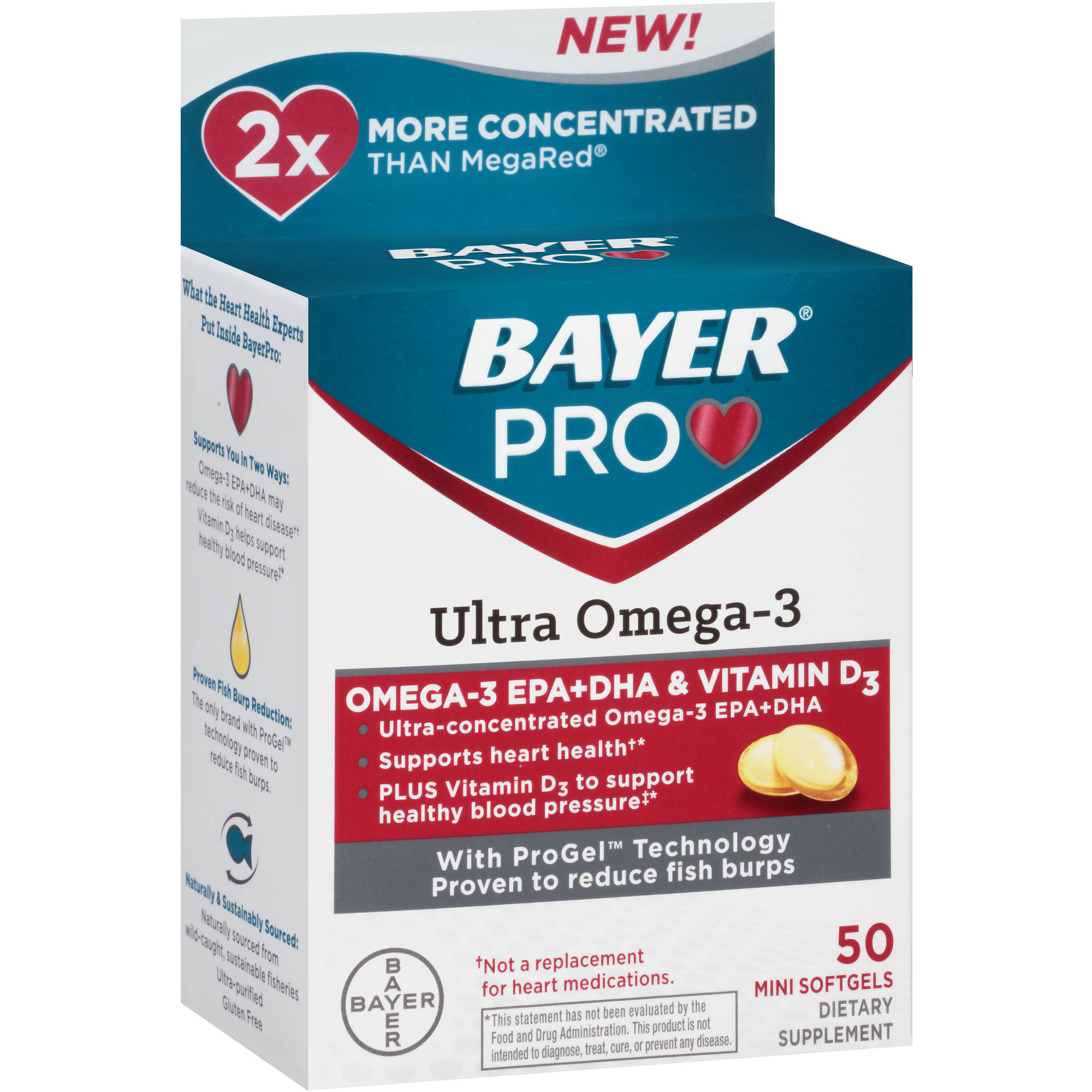 Bayer Pro Ultra Omega-3 Dietary Supplement Mini Softgels, 50 count