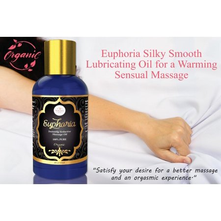 Euphoria Organic Sensual Massage oil. 100% Natural Instantly Seductive Blend of Essential Oils for a Relaxing Massage. Skin Therapy Moisturizer Aromatherapy Stress