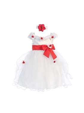 c9c459760ac4 Product Image Baby Girls White Red Flower Bow Tulle Neckband Flower Girl  Dress 6M