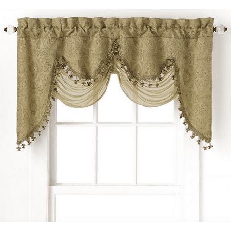 Ultra Elegant Clipped Jacquard Georgette Fringed Window Valance With an Attached Sheer Swag by GoodGram - -