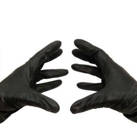 Packagingsuppliesbymail 200 Nitrile Disposable Gloves Powder and Latex Free Industrial Large Black 3.5 Mil