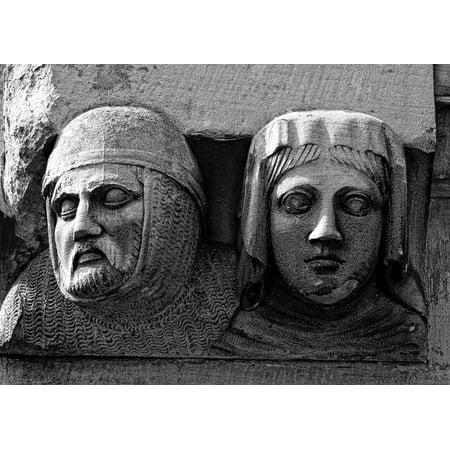 Framed Art for Your Wall Stone Figures Bas-Relief Sculptures Faces 10x13