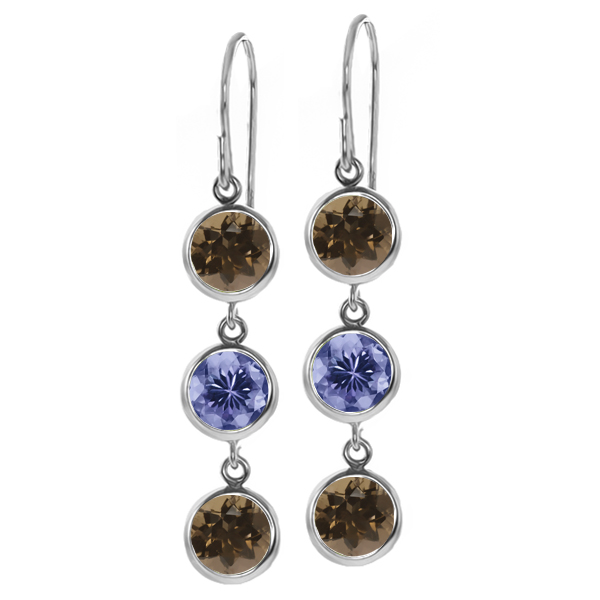 2.76 Ct Round Brown Smoky Quartz Blue Tanzanite 925 Sterling Silver Earrings