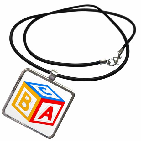 3dRose ABC Block Red Blue Yellow - Necklace with Pendant (ncl_44814_1) ()