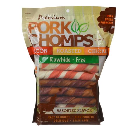 Pork Chomps Premium Assorted Pork Twistz - Bacon, Roasted & Chicken Flavors 24 Count - Assorted Flavors - (6 Chews) - Pack of 2