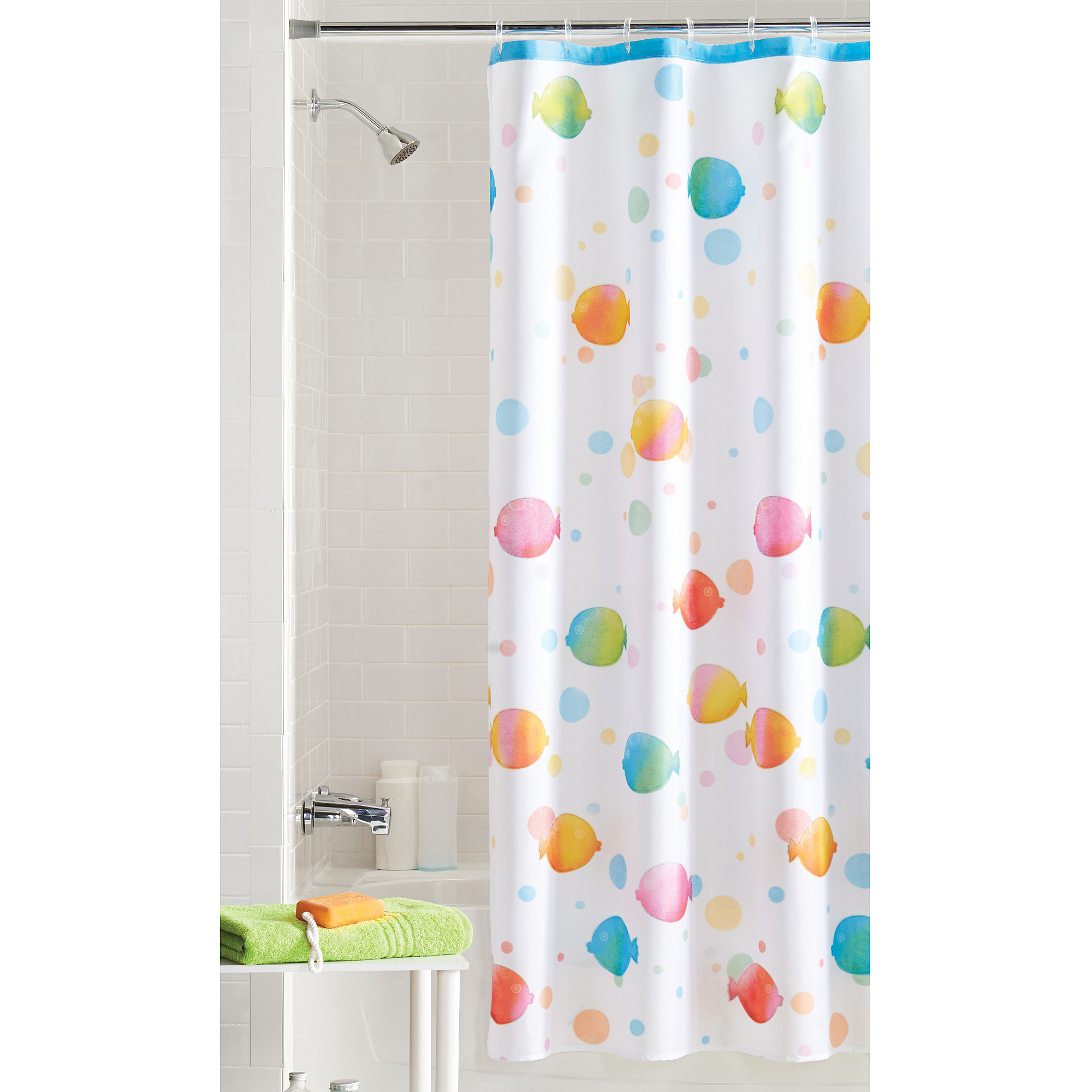 Style selections eva peva print multi fish shower curtain at lowes com - Mainstays Rainbow Fish Shower Curtain Walmart Com