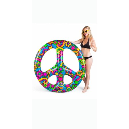 BigMouth Inc. Giant Peace Sign Multi-Person Pool Float, 4 Feet Wide, Funny Inflatable Vinyl Summer Pool - Shark Pool Toy