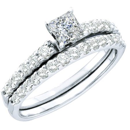 Dazzlingrock Collection 1.00 Carat (ctw) 14k Round & Princess Cut White Diamond Ladies Bridal Solitaire With Accents Engagement Ring Set 1 CT, White Gold, Size 6.5