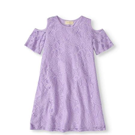 Girls' 7-12 Cold Shoulder Lace Swing Dress
