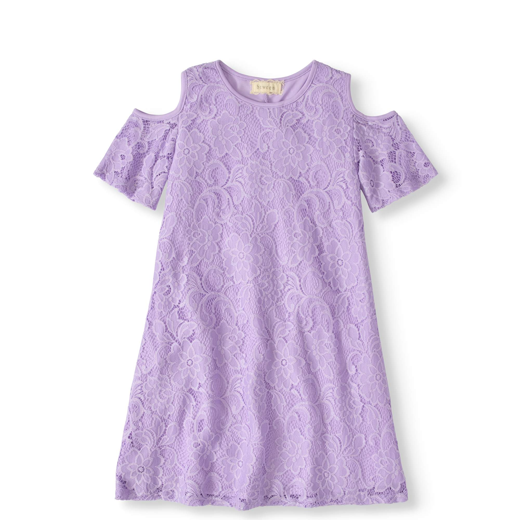 Girls' 7-12 Cold Shoulder Lace Swing Dress