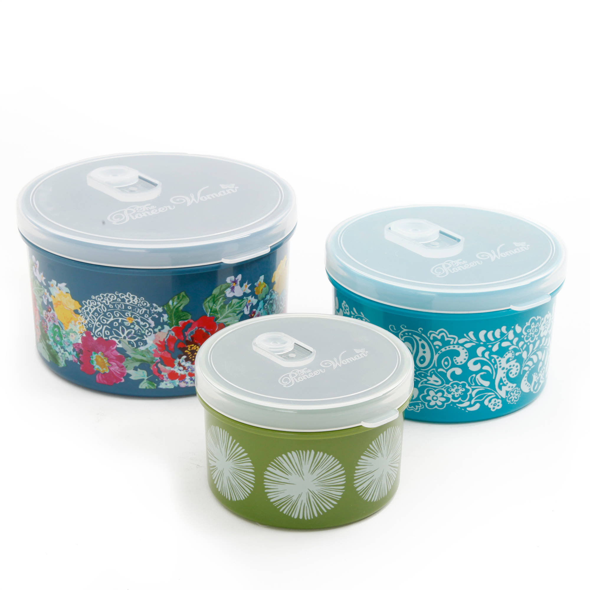 The Pioneer Woman Round Food Storage with Vent Container Set, Set of 3, Multiple Colors