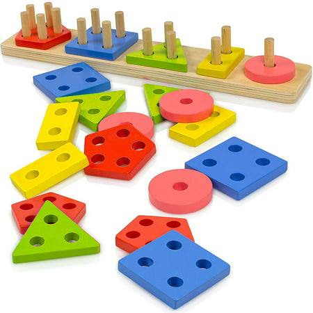 Wooden Educational Preschool Toddler Toys for 1 2 3 4 5 Year Old Boys Girls Shape Color Recognition Geometric Sorting Board Chunky Blocks Stack Sort Puzzle Toys for Kids Shape Puzzle Board