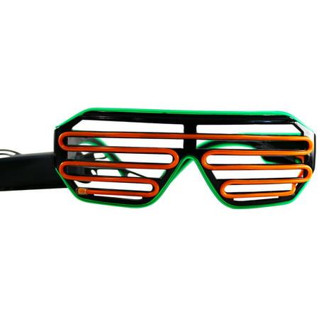 Rolling Lit Black Frame Neon El Wire LED Light Up Shutter Glasses ...