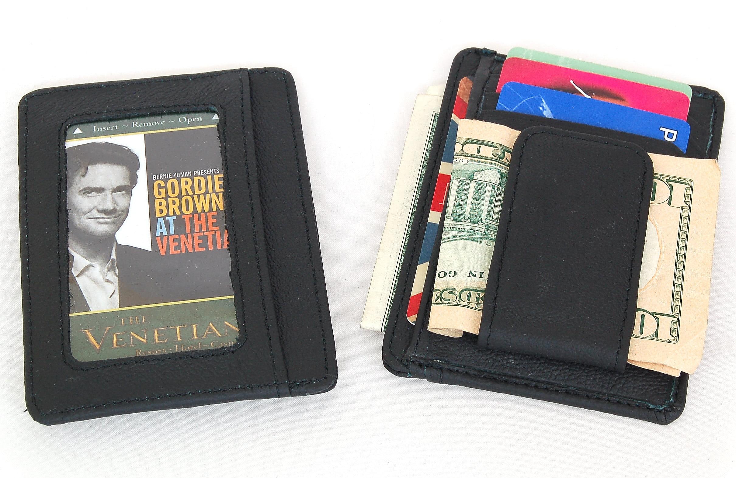 sbr designs mens leather wallet money clip credit card id holder front pocket thin slim new walmartcom - Mens Money Clip Credit Card Holder