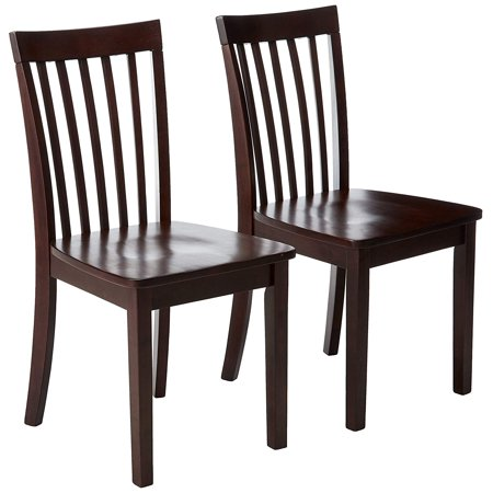 Tanya Kitchen Dinette Dining Chairs, Cherry Solid Wood, Shaker, Slatback, (Set Of Two)