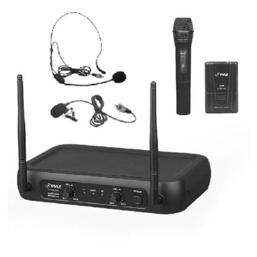 Pyle PDWM2140 VHF Wireless Microphone System, Handheld Mic, Bodypack, Headset/Lavalier Mics, Fixed Frequency