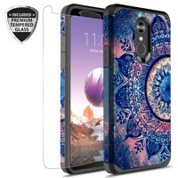 LG Stylo 4 Case, LG Stylo 4 Plus Case With Tempered Glass Screen Protector, Kaesar Slim Hybrid Dual Layer Graphic Fashion Cute Colorful Cover Armor Case for LG Stylo4 (Mandala)