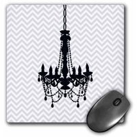 3dRose Black Chandelier with chic gray chevron zigzag, Mouse Pad, 8 by 8 inches