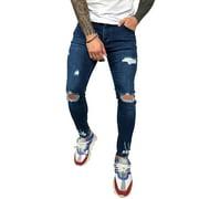 Mens Full Length Ripped Slim fit Skinny Jeans Stretch Boys Denim Distress Frayed Biker Jeans Pants Trousers