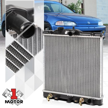 Aluminum Radiator OE Replacement for 92-00 Honda Civic/93-97 Del Sol 1.5 1.6 I4 93 94 95 96 97 98 99 Civic Del Sol Radiator Fan