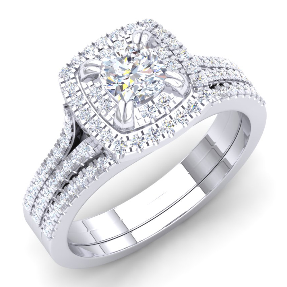 1.00 Carat (ctw) 14K Gold Princess & Round Cut White Diamond Cushion Shaped Engagement Ring Set 1 CT