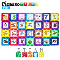 PicassoTiles 56 Piece Magnetic Building Blocks with 28pc Tiles and 28pc Educational Artwork Graphic Click-In Inserts Magnet Construction Toy Set STEM Learning Kit Playset Child Brain Development PT56