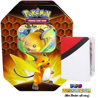 Totem World Sun & Moon Hidden Fates Tin Raichu GX with Totem World Card Protector Mini Binder Collectors Album, 4 TCG Booster Packs & Code Card Inside - Compatible with Pokemon Cards