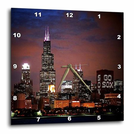 3dRose Chicago Skyline at Night, Wall Clock, 15 by 15-inch