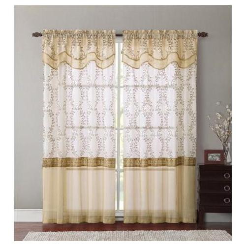 VCNY Everwood Embroidered Sheer Curtain Panel 55x90 - Orange