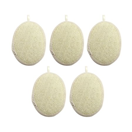 Exfoliating Loofah Sponge Pads - 100% Natural Loofah and Terry Cloth Materials for Shower and Spa Pack of 5