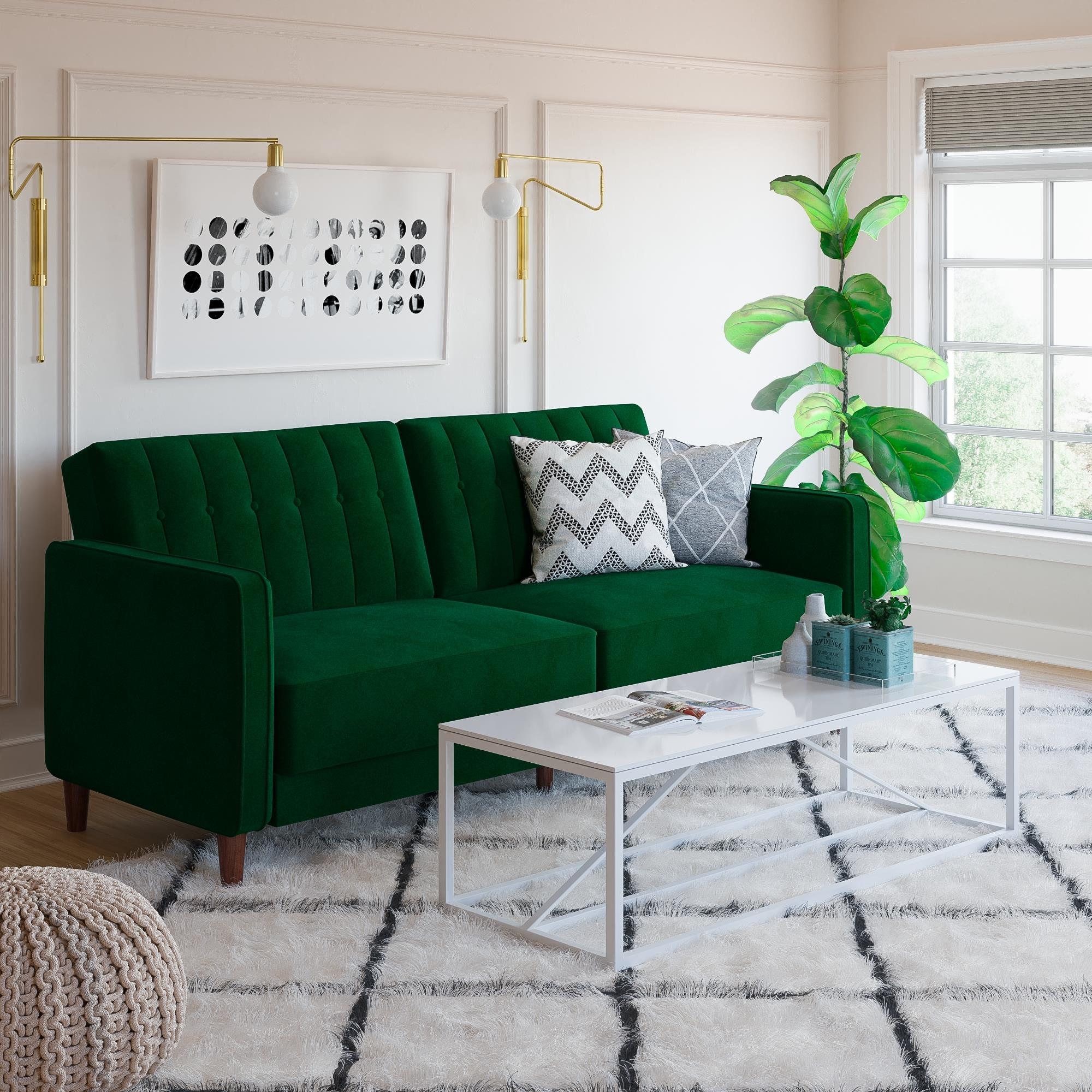 RealRooms Levi Tufted Futon Couch, Soft Velvet Upholstery, Multiple Colors