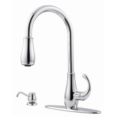 pfister treviso single handle kitchen faucet with side spray and