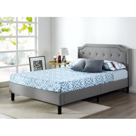 Contemporary Steel Bed - Zinus Kellen Upholstered Scalloped Button Tufted Platform Bed with Wood Slat Support, Multiple Sizes