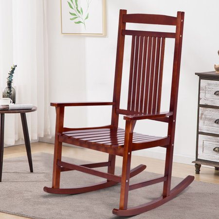 Costway Solid Wood Porch Rocking Chair Rocker Indoor Outdoor Patio Backyard Furniture ()
