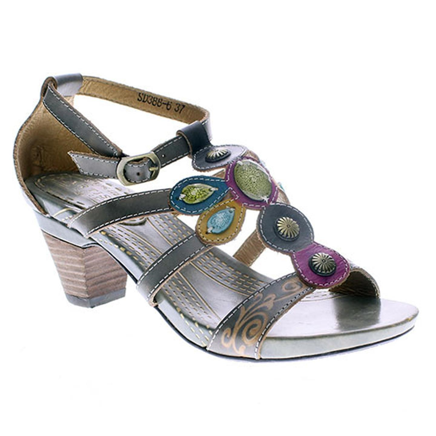 L'Artiste Frenzie By Spring Step Green Leather Sandal 40 EU   9 US Women by Spring Step