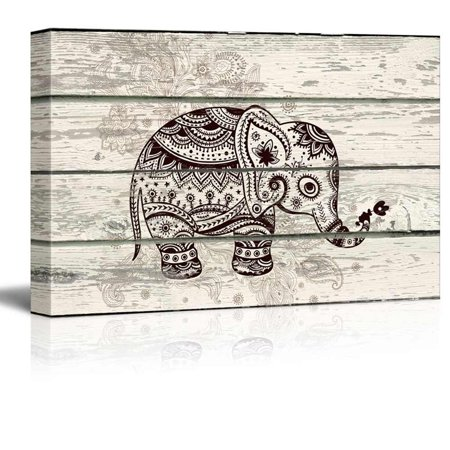 wall26 - Decorative and Patterned Baby Elephant - Canvas Art Wall Decor -12